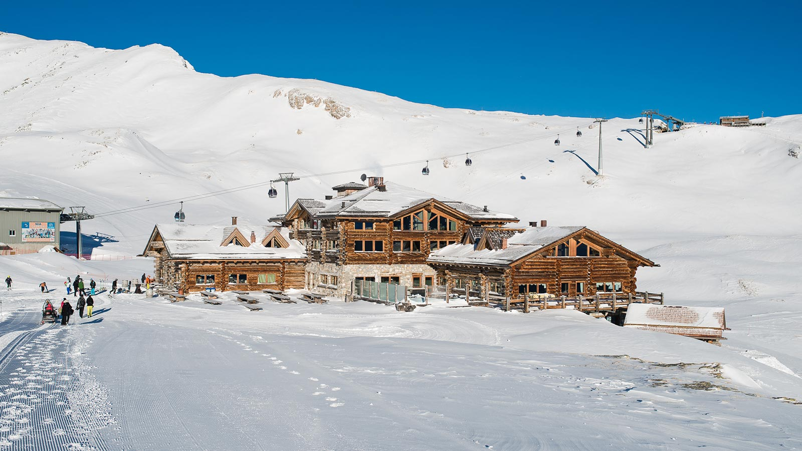 Outside of the moutain lodge during the winter at Santa Caterina Valfurva in the heart of the Stelvio National Park