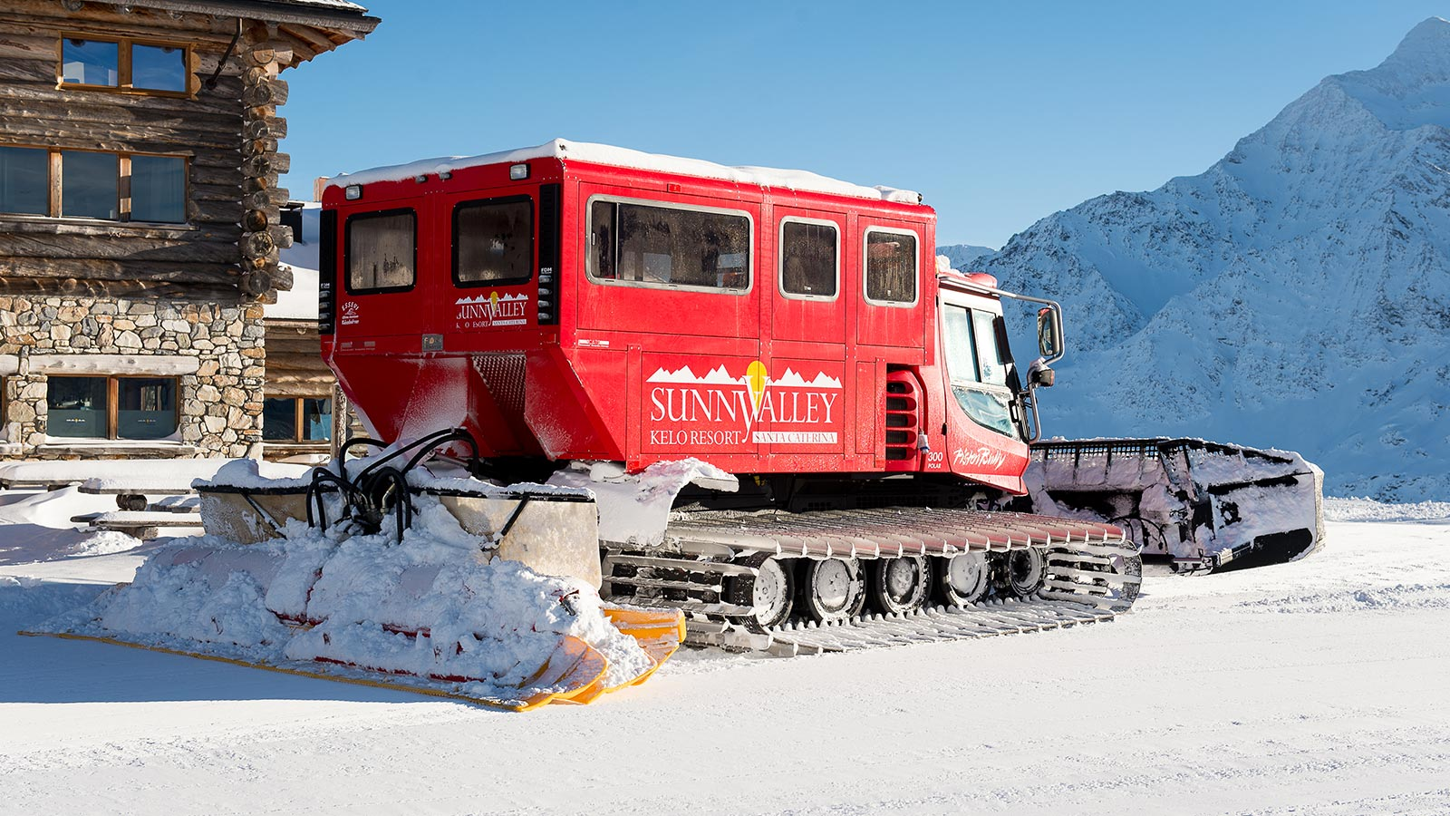 Snowcat parked outside the Sunny Valley in the heart of Stelvio National Park