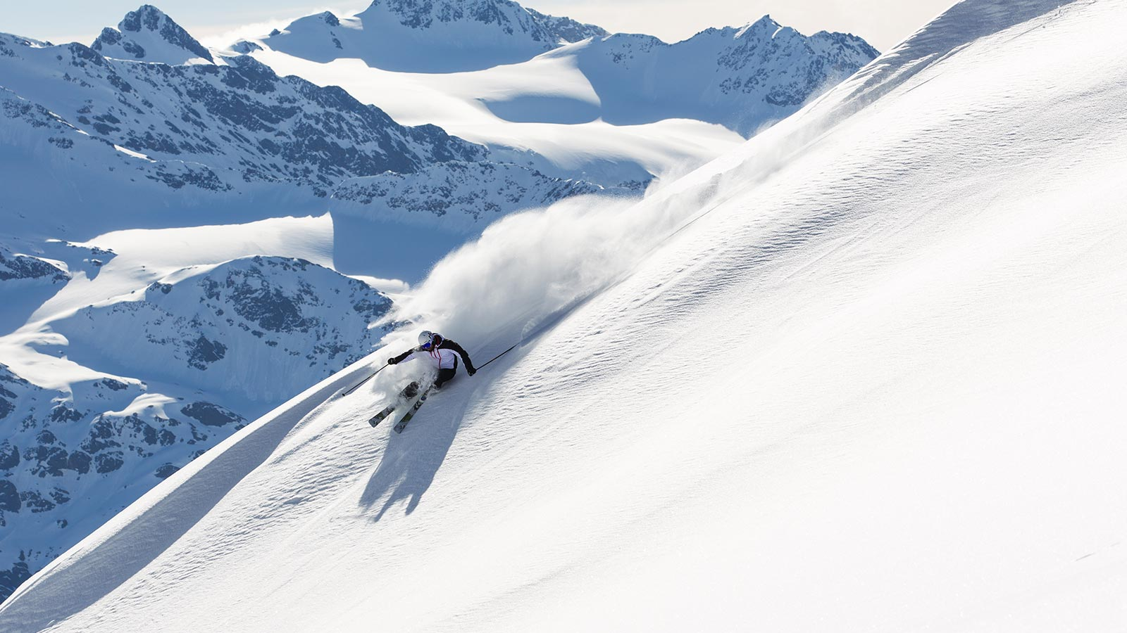 Skier spends a day skiing in the heart of Stelvio National Park
